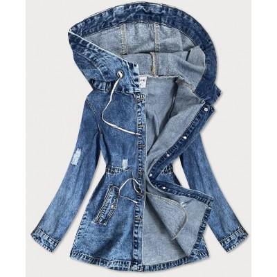 Dlhá dámska jeansová bunda s kapucňou (5805-K)