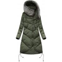 Dlhá dámska zimná bunda s kapucňou khaki  (7755)