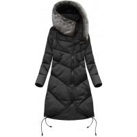 Dlhá dámska zimná bunda s kapucňou čierna (7755)