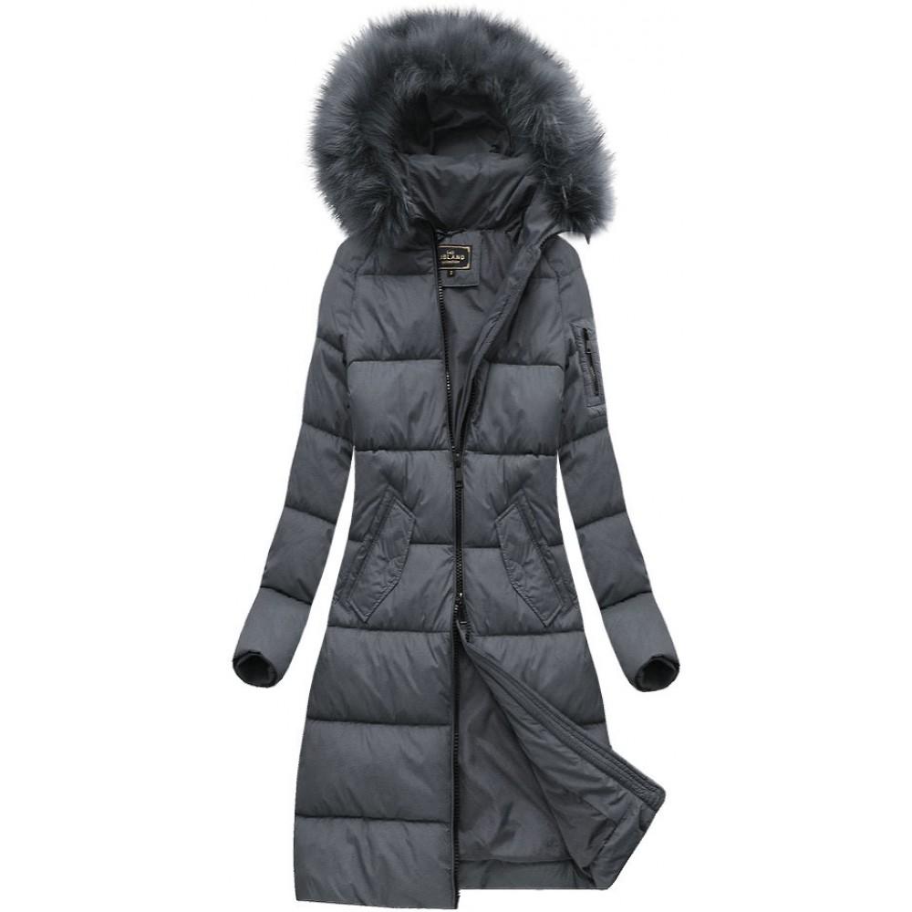 876701c4b Dámska dlhá zimná bunda tmavošedá (7751)