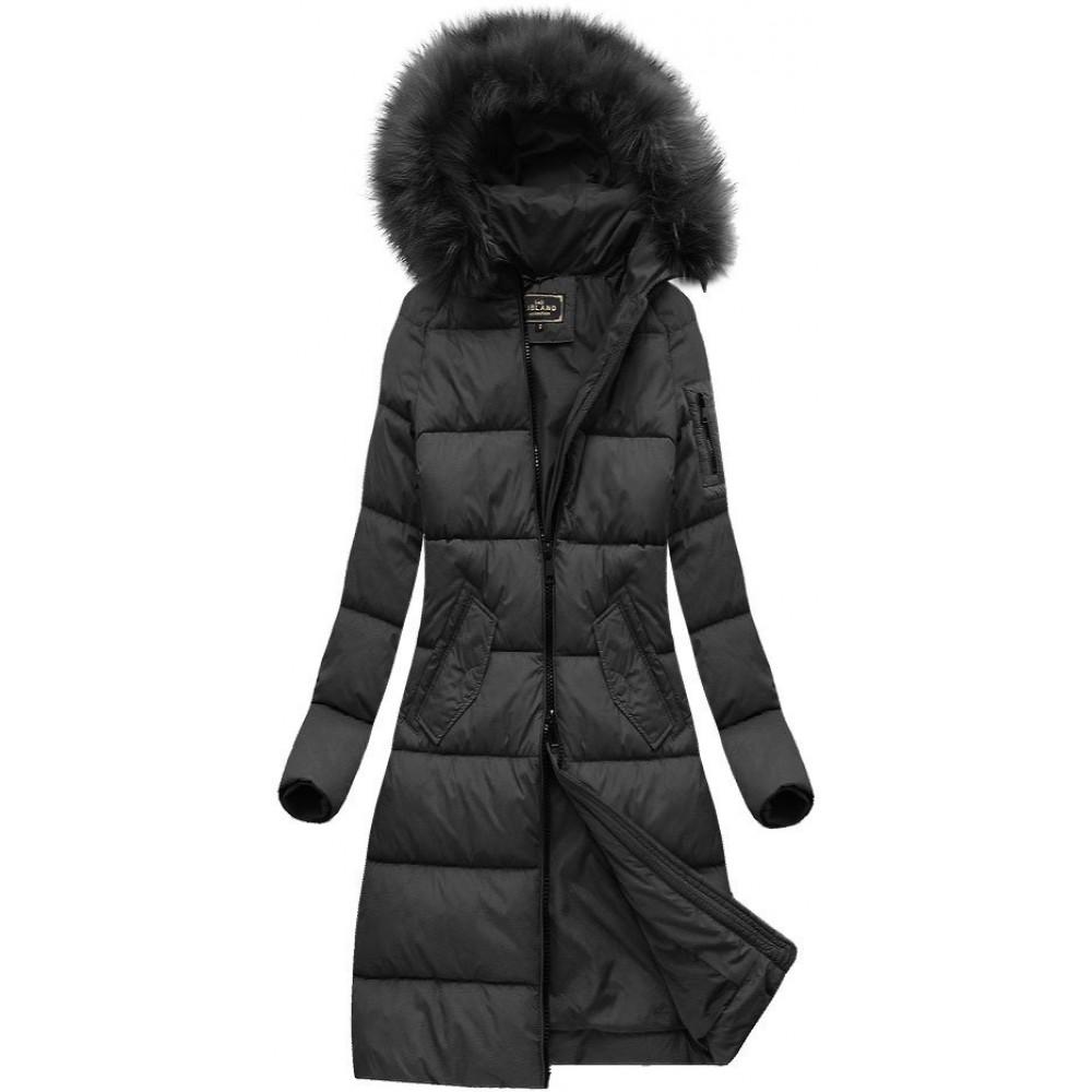 48937a547 Dámska dlhá zimná bunda čierna (7751BIG)