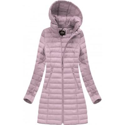 Dámska dlhá prechodná bunda ružová (7235)