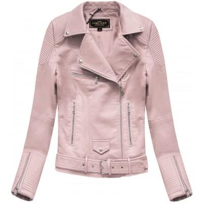 Dámska koženková bunda ružová  (5377)