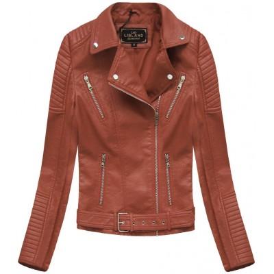 Dámska koženková bunda  hnedá (5378)