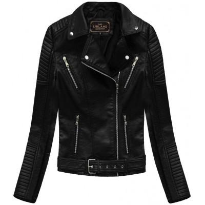Dámska koženková bunda  čierna  (5378)