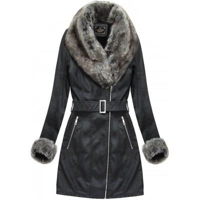 Dámska zimná koženková bunda čierna (5524BIG)