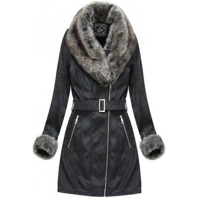 Dámska zimná koženková bunda čierna (5524)