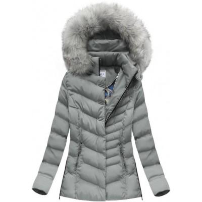 Dámska zimná bunda šedá (W583) 346cf2da6e9