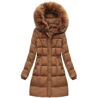 Dámska zimná bunda karamelová (7757BIG)