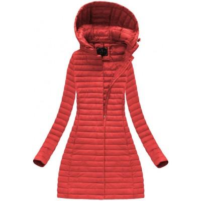 Dámska dlhá prechodná bunda červená (7222)