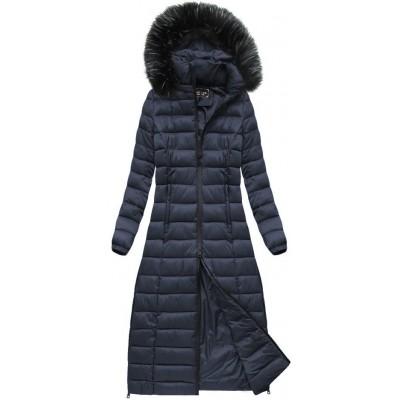 Dámska dlhá zimná bunda modrá (7758)