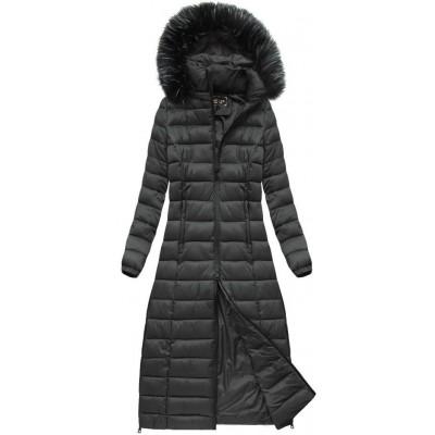 Dámska dlhá zimná bunda tmavošedá  (7758)