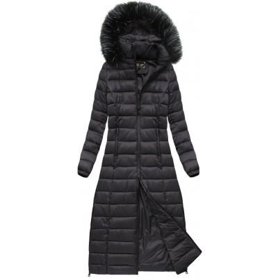 Dámska dlhá zimná bunda baklažánová  (7758)