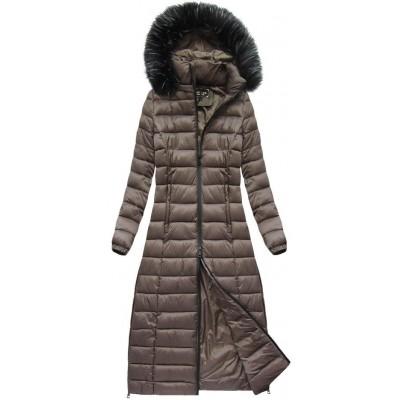 Dámska dlhá zimná bunda hnedá (7758)