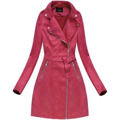 7adc704e7a986 Dámsky zamatový kabát červený (6004)
