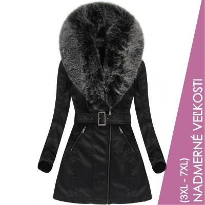 Dámska zimná koženková bunda čierno-šedá (5518BIG)