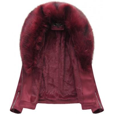Dámska zimná zamatová bunda s kožušinou bordová (6502)