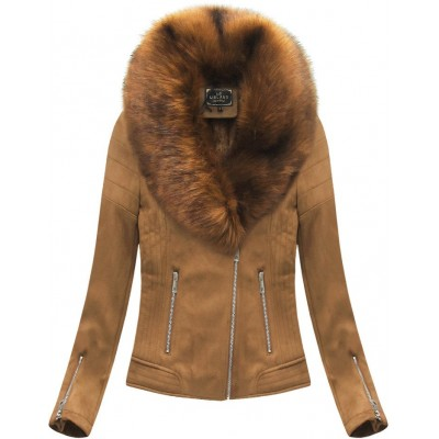 Dámska zimná zamatová bunda s kožušinou caramelová (6502)