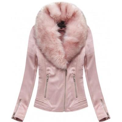 Dámska zimná zamatová bunda s kožušinou ružová (6502)