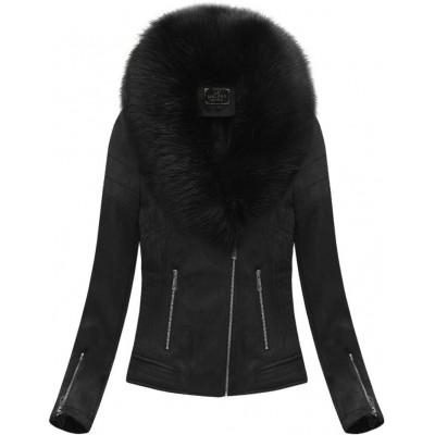 Dámska zimná zamatová bunda s kožušinou čierna (6502)