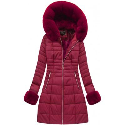 Dámska zimná bunda bordová (5521)