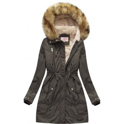Dámska zimná bunda parka khaki (W171)