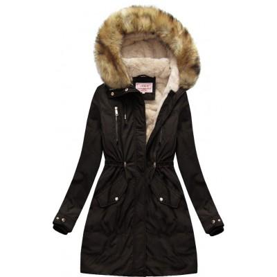 Dámska zimná bunda parka čierna  (W171)