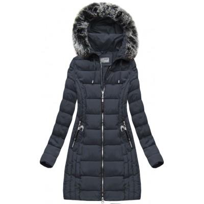Dlhá dámska zimná bunda modrá (B1056-30)