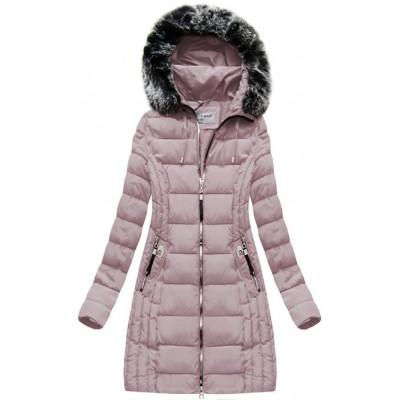 Dlhá dámska zimná bunda ružová (B1056-30)