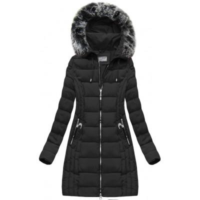 Dlhá dámska zimná bunda čierna (B1056-30)