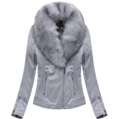 Dámska zimná zamatová bunda s kožušinou šedá (6502)