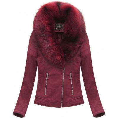 Dámska zamatová zimná bunda bordová (6502BIG)