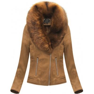 Dámska zamatová zimná bunda karamelová 2 (6502BIG)