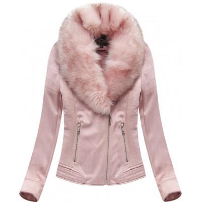 Dámska zamatová zimná bunda ružová (6502BIG)