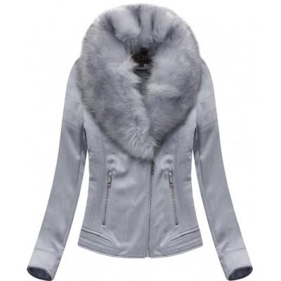 Dámska zamatová zimná bunda šedo-fialová (6502BIG)