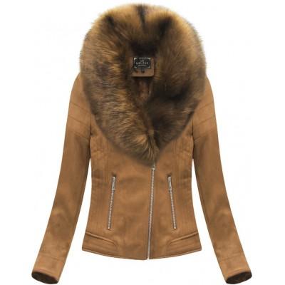 Dámska zamatová zimná bunda karamelová 1 (6502BIG)