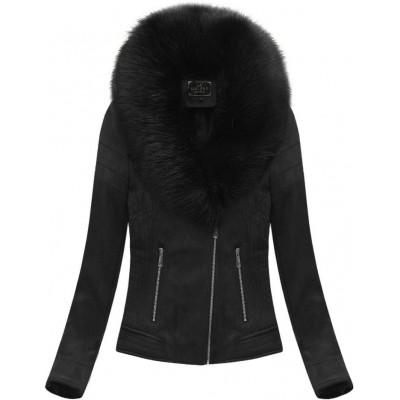 Dámska zamatová zimná bunda čierna (6502BIG)