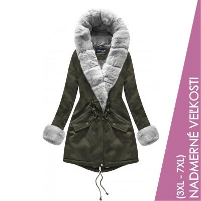 Bavlnená dámska zimná bunda kahki (XW801BIGX)
