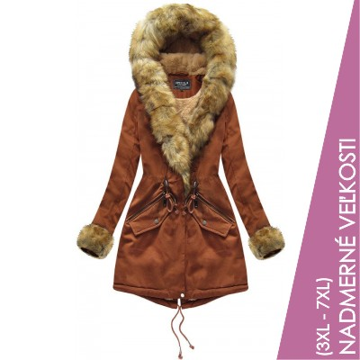 Bavlnená dámska zimná bunda karamelová  (XW801BIGX)