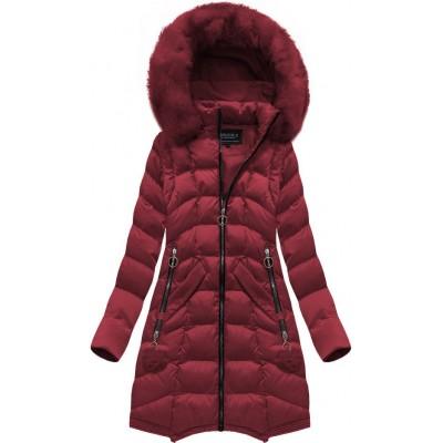Dámska dlhá zimná bunda bordová (W769)