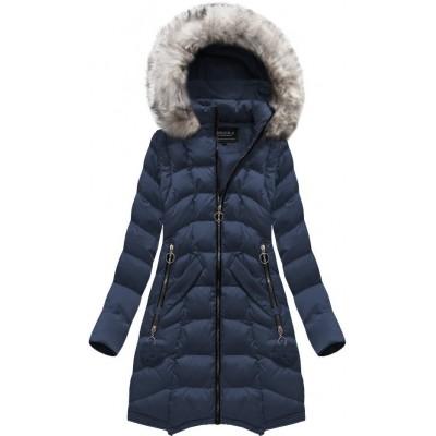 Dámska dlhá zimná bunda modrá (W769)