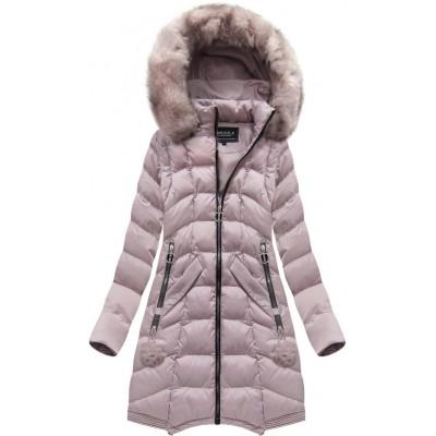 Dámska dlhá zimná bunda ružová (W769)