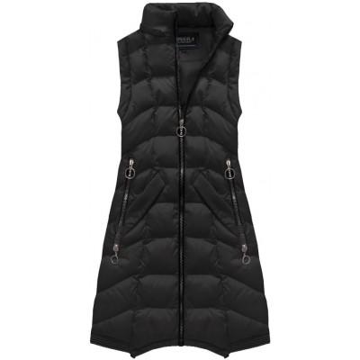 Dámska dlhá zimná bunda čierna (W769)