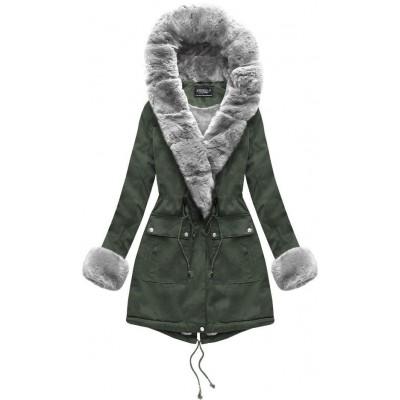 Dámska bavlnená bunda s kožúškom zelená (XW805X)