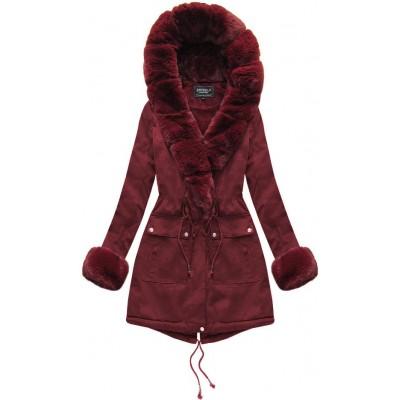 Dámska bavlnená bunda s kožúškom bordová  (XW805X)