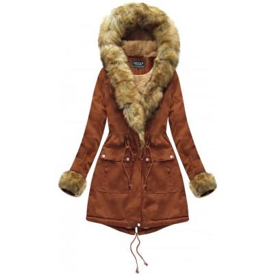 Dámska bavlnená bunda s kožúškom karamelová (XW805X)