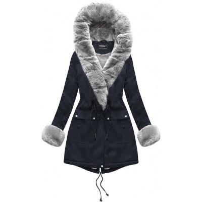 Dámska bavlnená bunda s kožúškom modrá (XW805X)