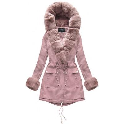 Dámska bavlnená bunda s kožúškom staroružová (XW805X)