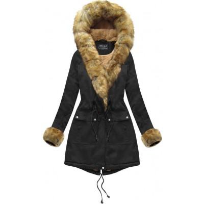 Dámska bavlnená bunda s kožúškom čierna (XW805X)