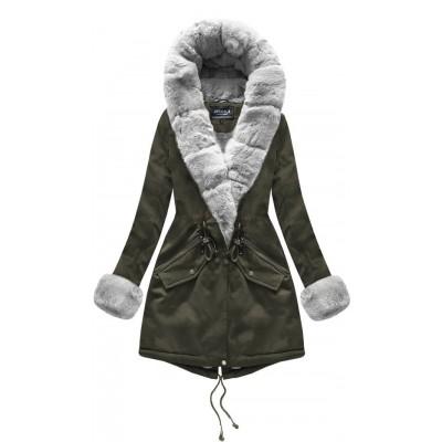 Bavlnená dámska zimná bunda khaki (XW801X)
